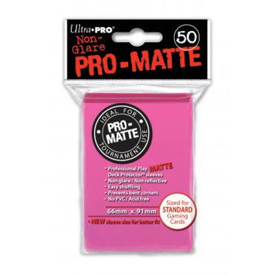 Ultra Pro: Pro-Matte Standard Card 66mm x 91mm Sleeves, 50ct Bright Pink-LVLUP GAMES