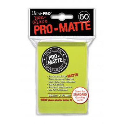 Ultra Pro: Pro-Matte Standard Card 66mm x 91mm Sleeves, 50ct Bright Yellow-LVLUP GAMES