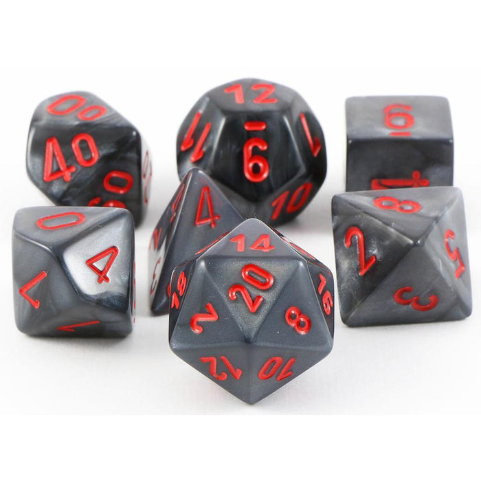 Chessex Dice: Velvet, 7-Piece Sets-Black w/Red-LVLUP GAMES