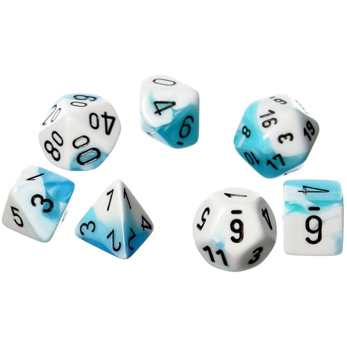 Chessex Dice: Gemini, 7-Piece Sets-Teal-White w/Black-LVLUP GAMES