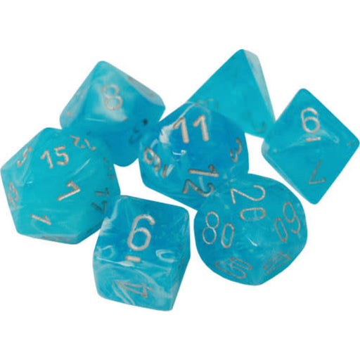 Chessex Dice: Luminary Colours, 7-Piece Sets-Sky w/Silver-LVLUP GAMES