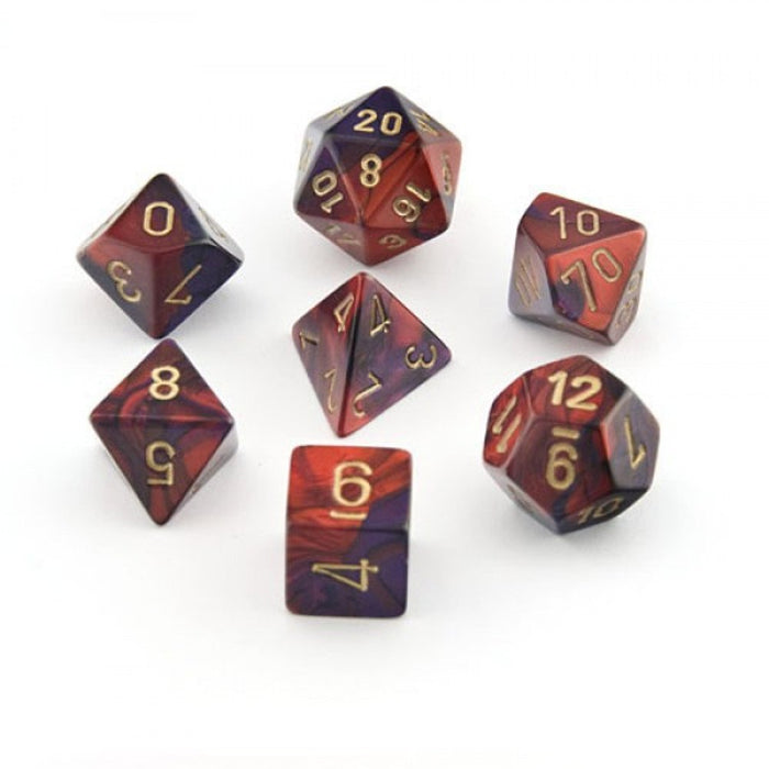 Chessex Dice: Gemini, 7-Piece Sets-Purple-Red w/Gold-LVLUP GAMES