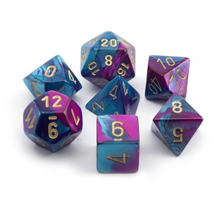 Chessex Dice: Gemini, 7-Piece Sets-Purple-Teal w/Gold-LVLUP GAMES