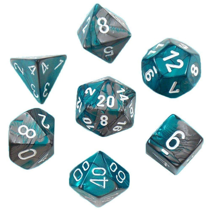 Chessex Dice: Gemini, 7-Piece Sets-Steel-Teal w/White-LVLUP GAMES