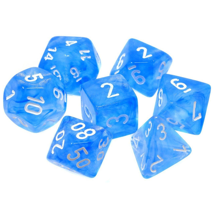 Chessex Dice: Borealis, 7-Piece Sets-Sky Blue w/White-LVLUP GAMES
