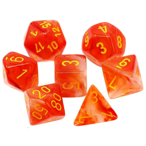 Chessex Dice: Ghostly Glow, 7-Piece Sets-Orange w/Yellow-LVLUP GAMES