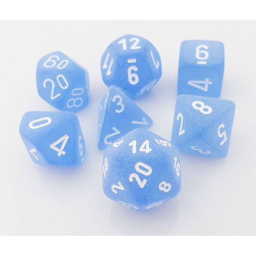 Chessex Dice: Frosted, 7-Piece Sets-Blue w/White-LVLUP GAMES