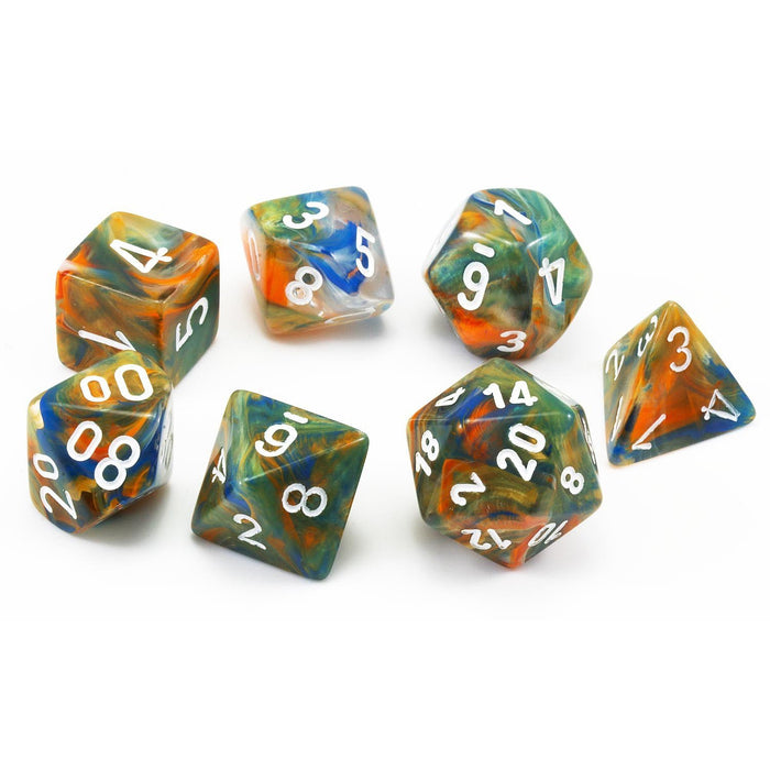 Chessex Dice: Festive, 7-Piece Sets-Autumn w/White-LVLUP GAMES