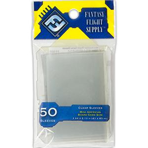 Fantasy Flight Supply: Mini American Sleeves, 50ct Clear-LVLUP GAMES