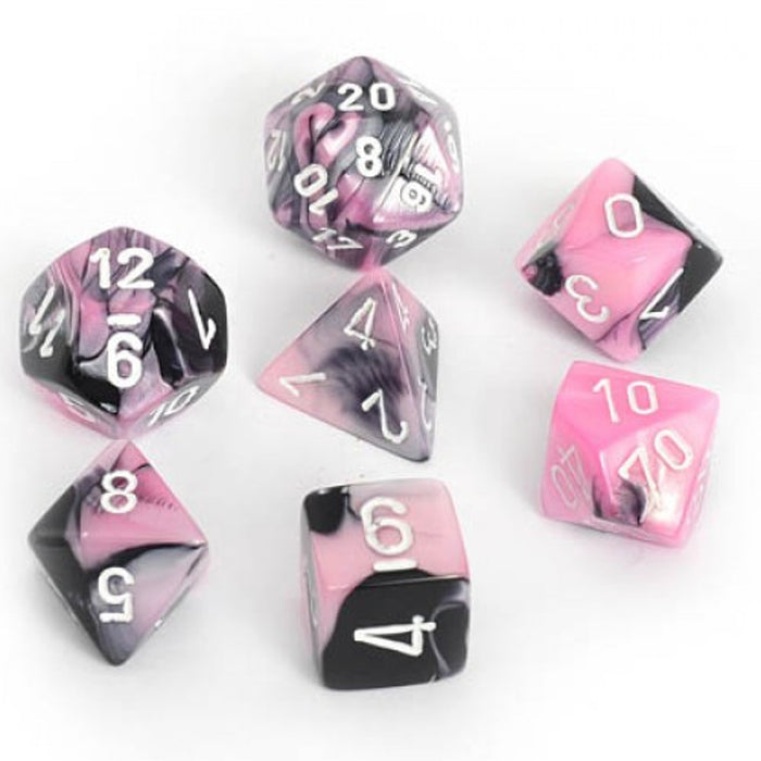 Chessex Dice: Gemini, 7-Piece Sets-Black-Pink w/White-LVLUP GAMES