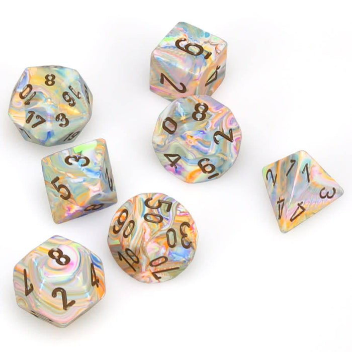 Chessex Dice: Festive, 7-Piece Sets-Vibrant w/Brown-LVLUP GAMES