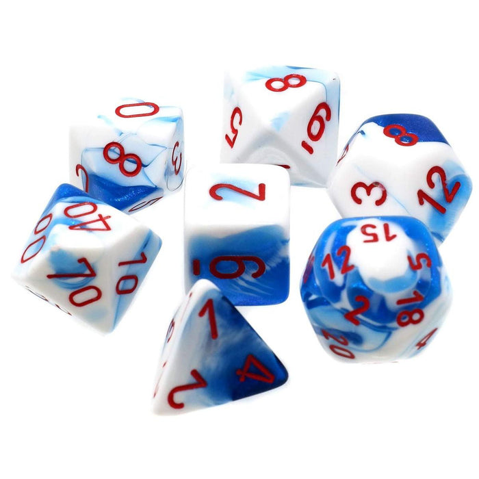 Chessex Dice: Gemini, 7-Piece Sets-Astral-Blue w/Red-LVLUP GAMES