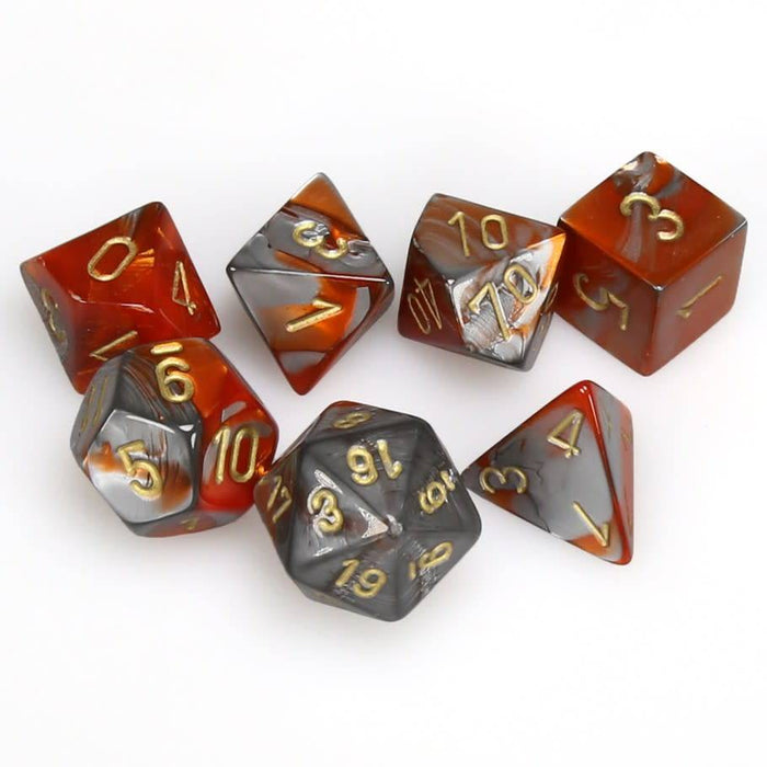 Chessex Dice: Gemini, 7-Piece Sets-Orange-Steel w/Gold-LVLUP GAMES