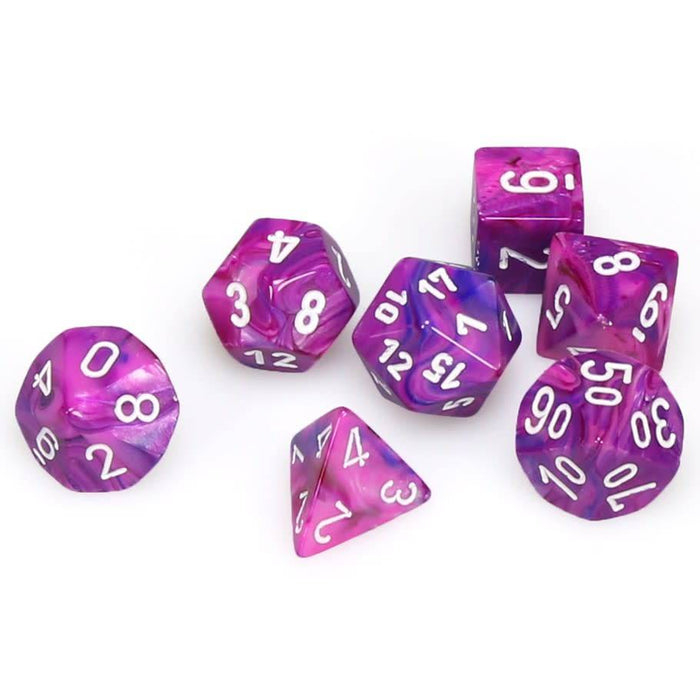 Chessex Dice: Festive, 7-Piece Sets-Violet w/White-LVLUP GAMES