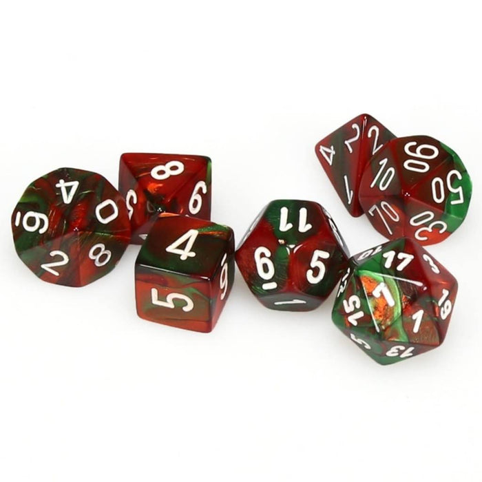 Chessex Dice: Gemini, 7-Piece Sets-Green-Red w/White-LVLUP GAMES