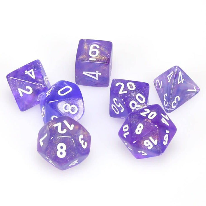 Chessex Dice: Borealis, 7-Piece Sets-Purple w/White-LVLUP GAMES