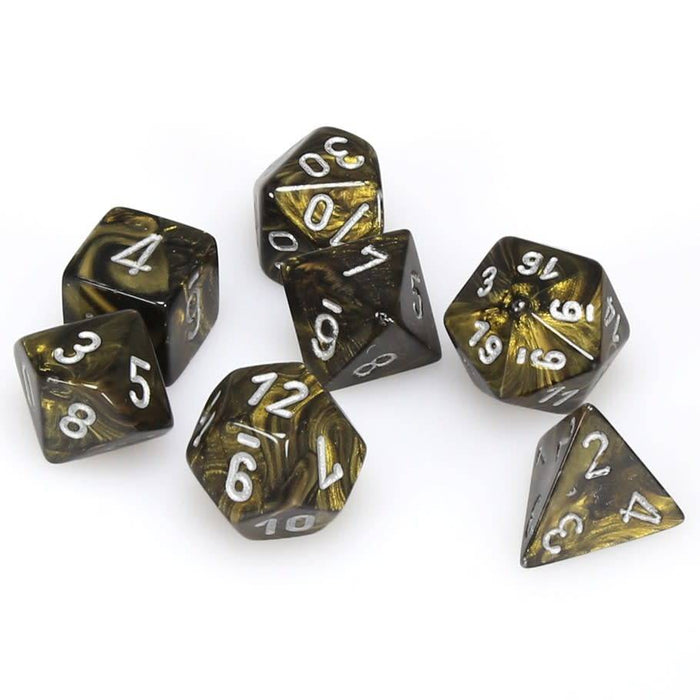 Chessex Dice: Leaf, 7-Piece Sets-Black Gold w/Silver-LVLUP GAMES