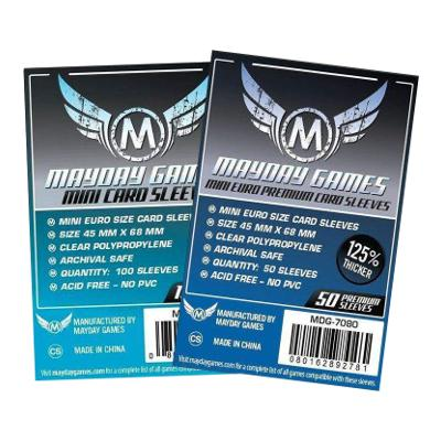 Mayday: Premium Soft Sleeves - Mini Euro 45x68mm, Clear 50ct.-LVLUP GAMES