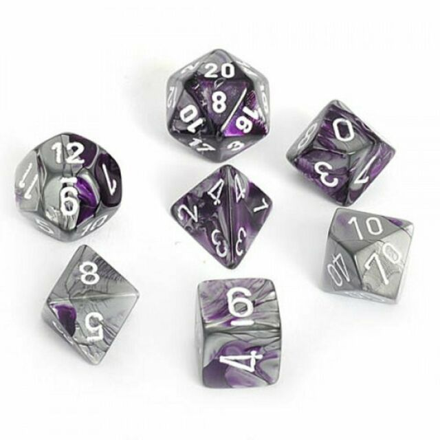 Chessex Dice: Gemini, 7-Piece Sets-Purple-Steel w/White-LVLUP GAMES