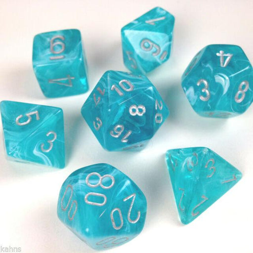 Chessex Dice: Cirrus, 7-Piece Sets-Aqua w/Silver-LVLUP GAMES