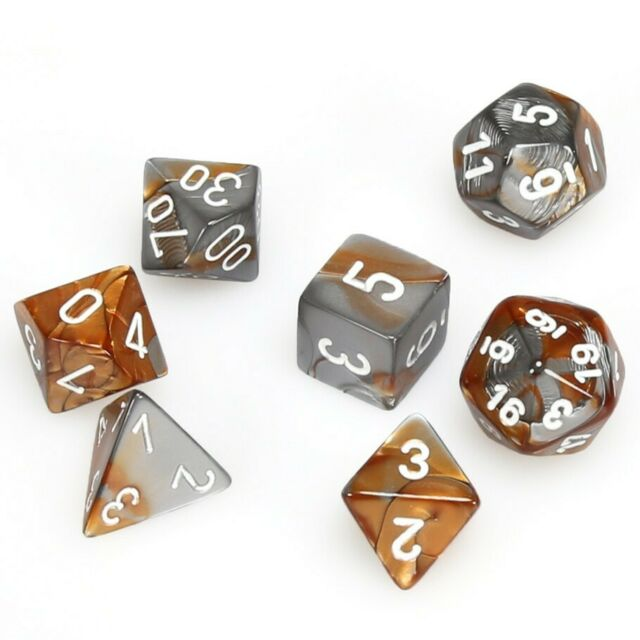 Chessex Dice: Gemini, 7-Piece Sets-Copper-Steel/White-LVLUP GAMES