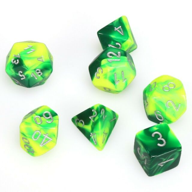 Chessex Dice: Gemini, 7-Piece Sets-Green-Yellow w/Silver-LVLUP GAMES