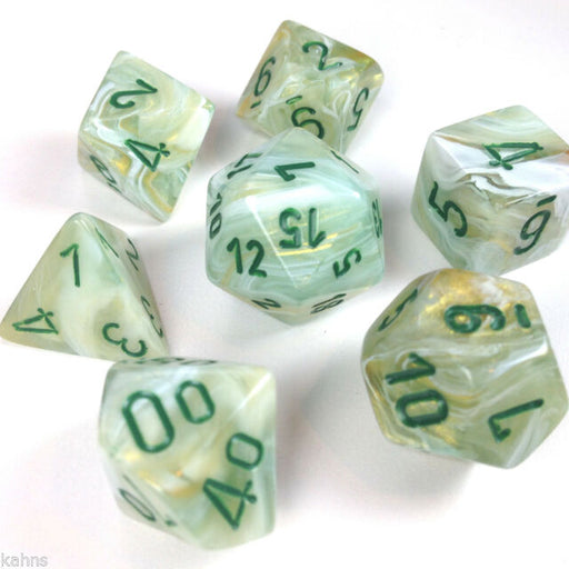 Chessex Dice: Marble, 7-Piece Sets-Green w/Dark green-LVLUP GAMES