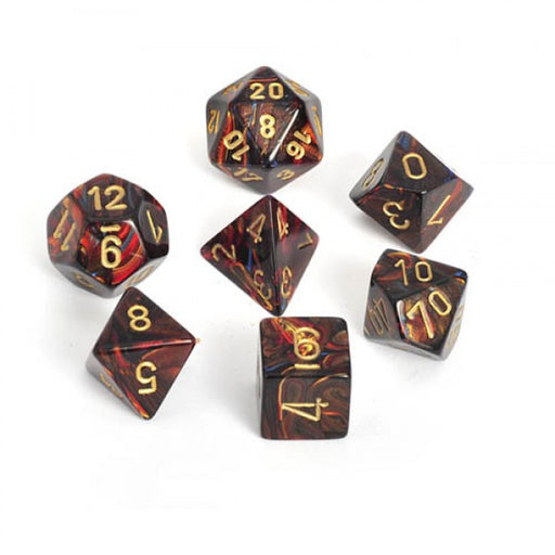 Chessex Dice: Scarab, 7-Piece Sets-Blue Blood w/Gold-LVLUP GAMES