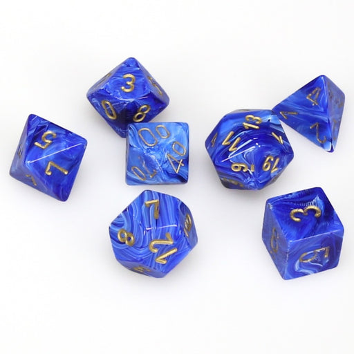 Chessex Dice: Vortex, 7-Piece Sets-Blue w/Gold-LVLUP GAMES
