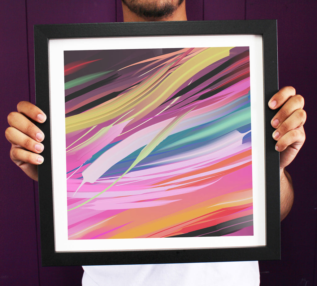 Abstract Vibrant Composition Illusional Framed Art Print ART106