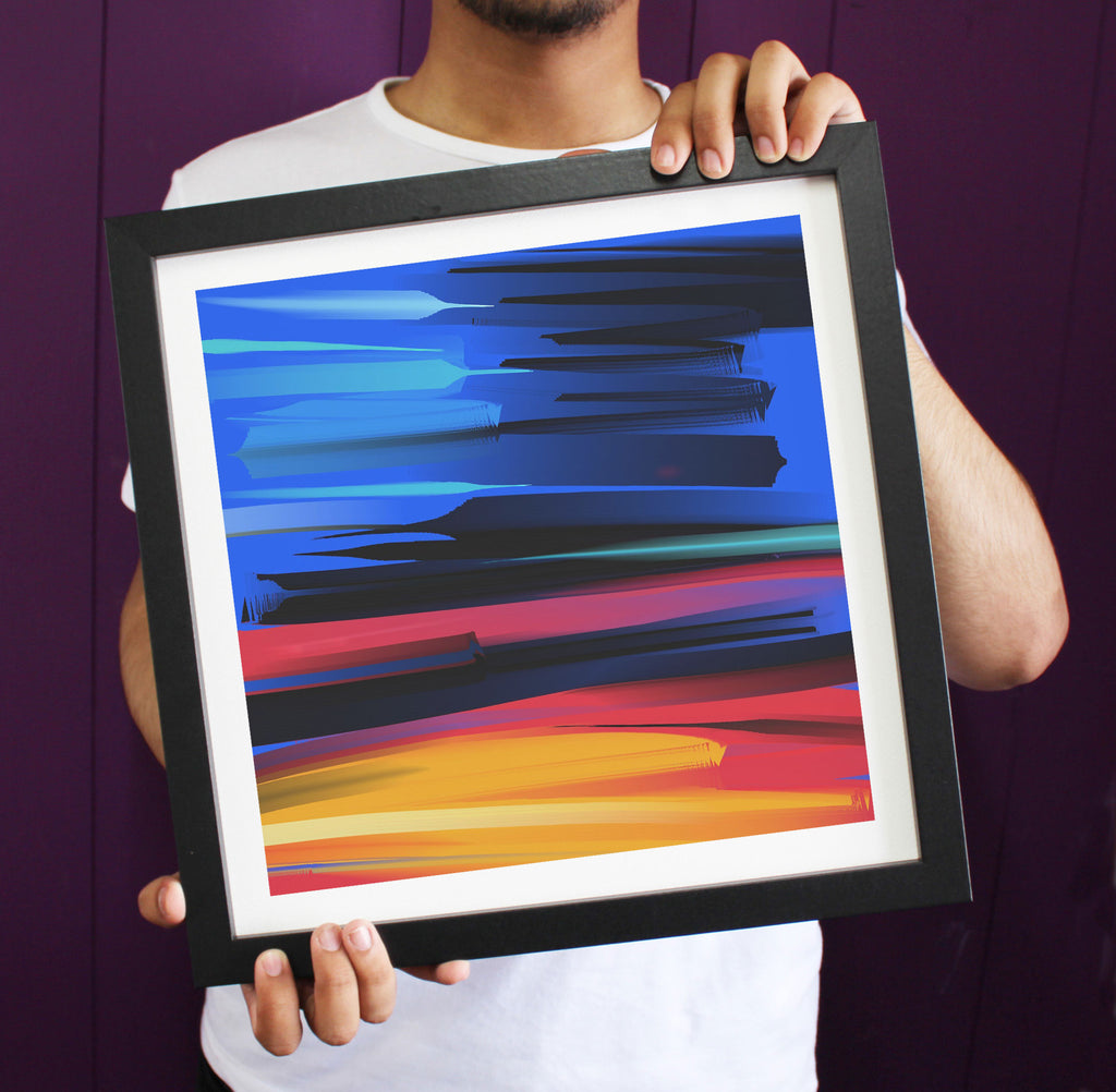Abstract Vibrant Colours Levity Composition Framed Art Print ART107