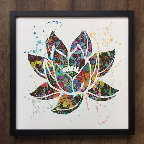 Colourful Splatter Lotus Flower Nature Spiritual Art- Framed Art Print ART600