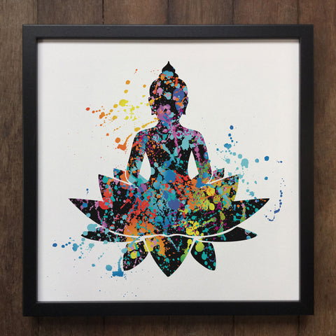 Colourful Splatter Lotus Buddha Yoga Flower Spiritual Art- Framed Art Print ART601