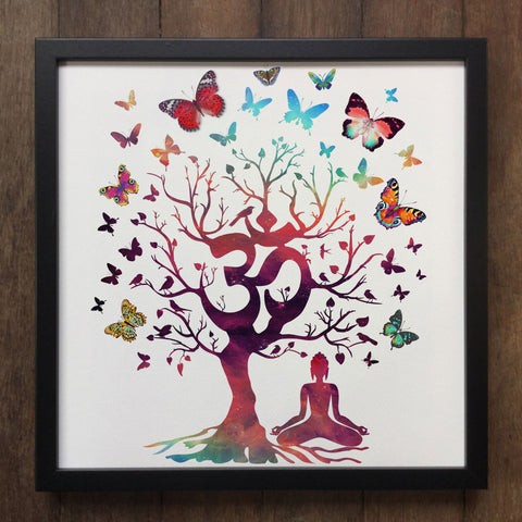 Yoga Meditation India zen OM Tree Beautiful Butterflies Art Framed Print ART91