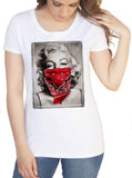 Women's White T-Shirt Marilyn Monroe Hot Sexy Tattoo Gladys Cross Love Forever Bandit Print TSP6