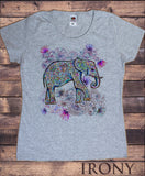 Women's T-Shirt Boho Hippy Ethnic Indian  Elephant Tribal Colourful Print C30-19