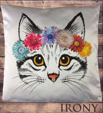 Cute Cat Flower Headband- Pretty Cat Icon Cushion Cover CUS593