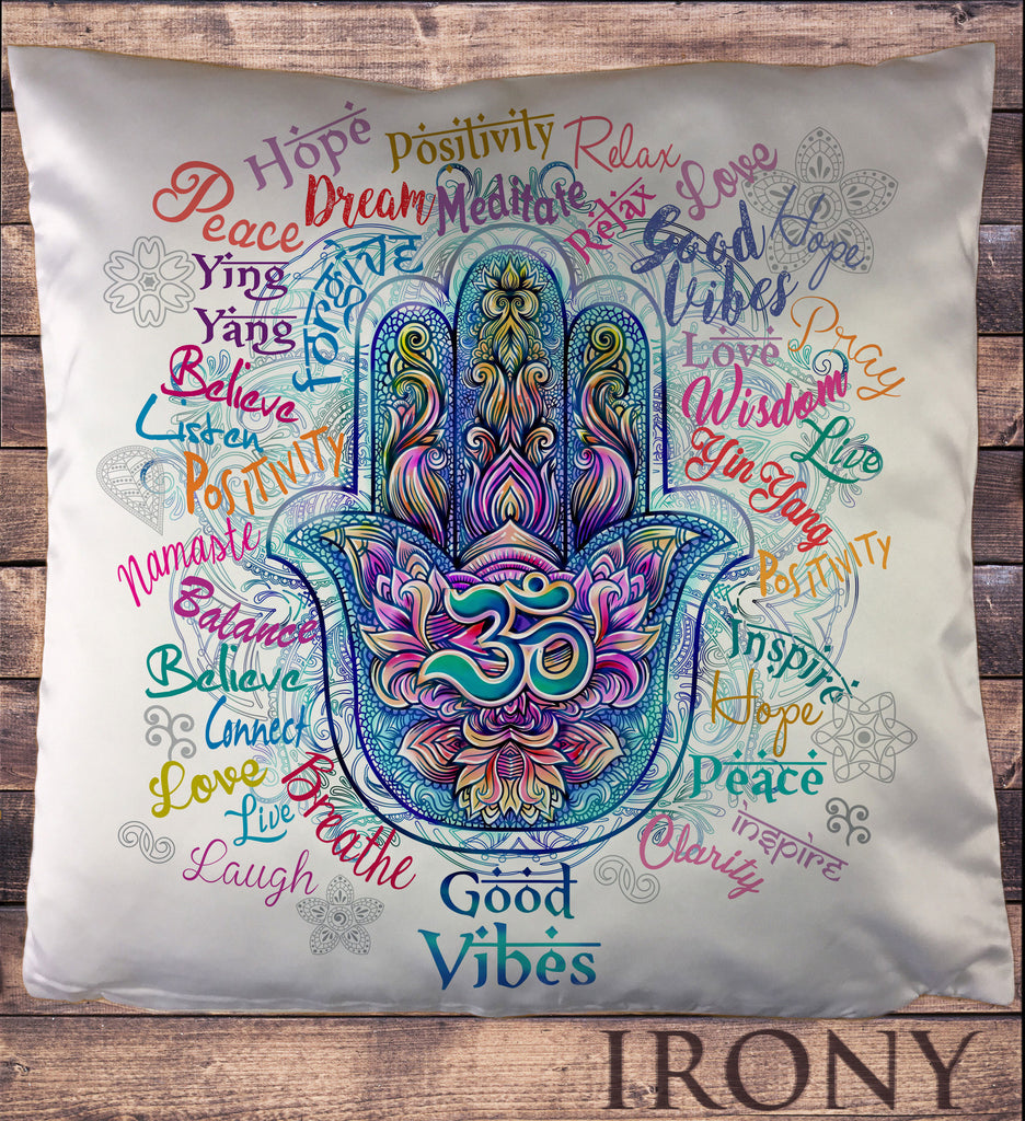 Positive Slogans All Over- Hamsa Hand Fatima Om India Cushion Cover CUS889
