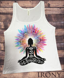 Jersey Top Namaste Buddha flowers colour explosion Yoga meditation print JTK1317