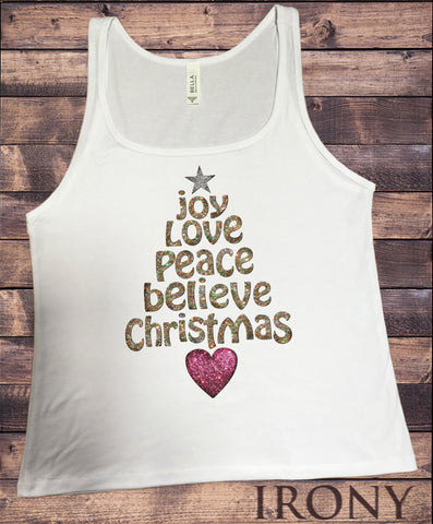 Jersey Tank Christmas Festive Novelty Peace Tree Shape Effect Print JTKX15-20