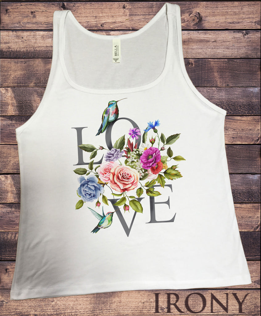 Jersey Tank Top 'LOVE' dreamer Parrots & flowers Floral Colourful Print JTK1010
