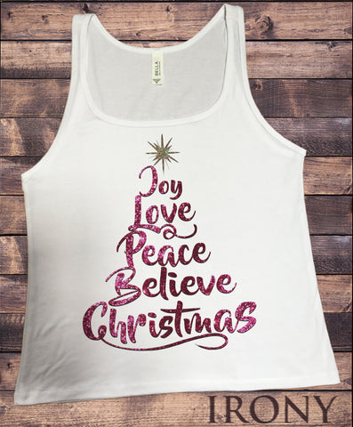 Jersey Tank Christmas Xmas Tree Joy, Love, Peace, Believe, Christmas Tree Novelty Glitter Effect JTK1032