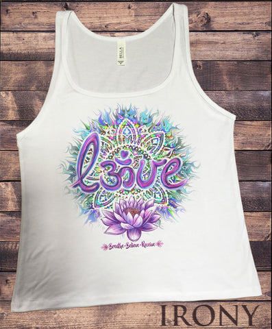 Jersey Tank Lotus Aztec 'Love' Breathe, Believe, Receive OM India Print JTK1074
