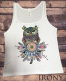 Jersey Top Colourful Owl Abstract- American Feathers Tribal Print JTK1169
