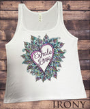 Jersey Top 'Exhale Love' Colourful Flower Love Heart Yoga Print JTK1195