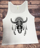 Jersey Top Cow Skull American Feathers Red indian Skeleton Aztec Print JTK1230
