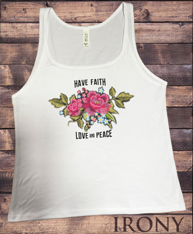 Jersey Top 'Have faith, love and peace' Embroidery Effect Flower Print JTK1272
