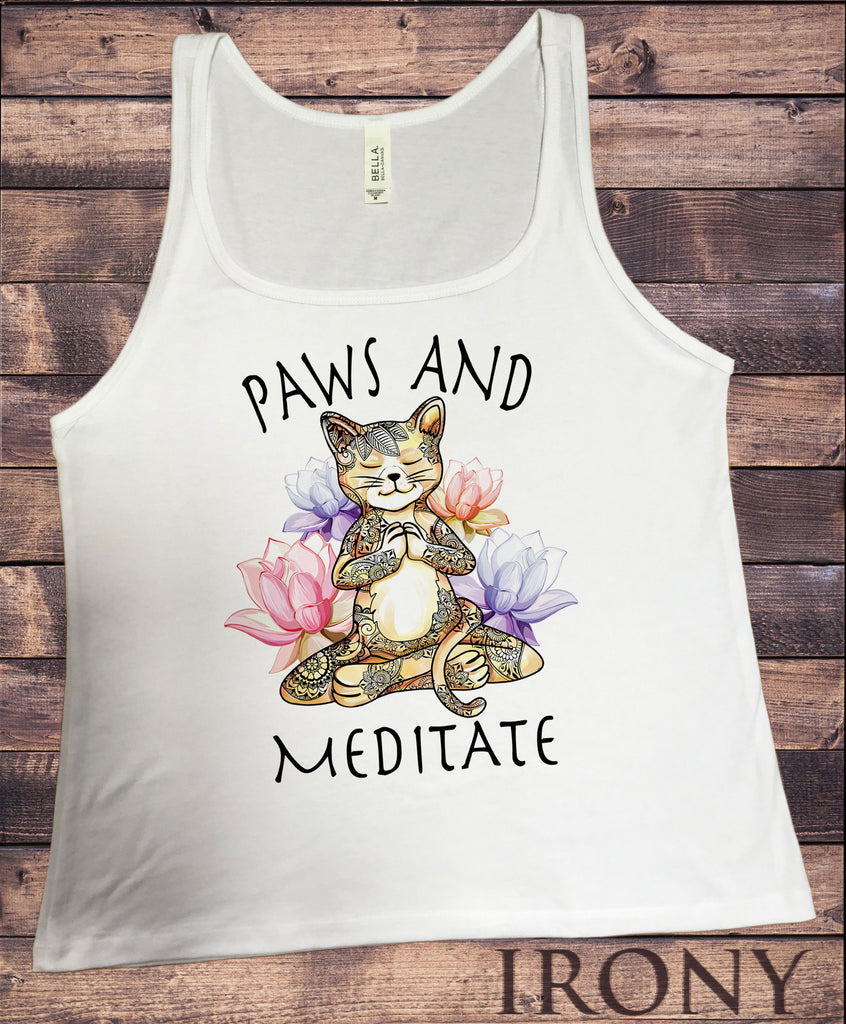 Jersey Top Yoga Cat Paws and Meditate - Lotus Meditation Cat Pose JTK1379