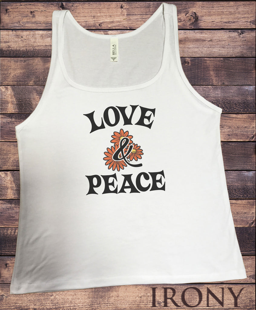 Jersey Top Summer Love and Peace Dandy Flowers Slogan Print JTK1406