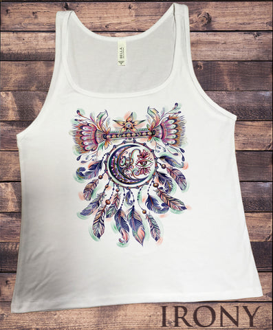 Jersey Top Dreamcatcher Tribal Red Indian Moon Eye American Feathers JTK1491